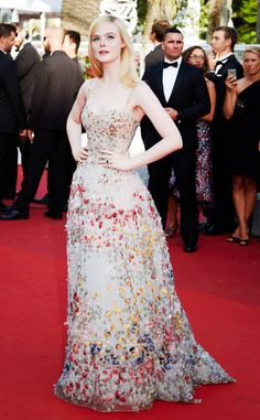 Elle Fanning from Cannes Best Dressed Stars Celebrity Red Carpet, Celebrity Dresses, Celebrity Style, Celebrity Photos, Beautiful Dresses, Nice Dresses, Elle Fanning, Red Carpet Looks, Red Carpet Dresses