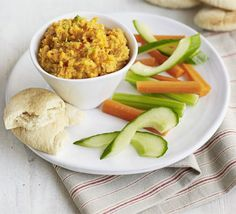 Red Lentil & Sweet Potato Pate Rosie Clewlow's vegetarian dip is a healthy alternative to houmous and great with crudités in a lunchbox Pate Recipes, Veggie Recipes, Lunch Recipes, Vegetarian Recipes, Healthy Recipes, Vegetarian Pate, Vegan Pate, Vegetarian Kids, Low Calorie Lunches