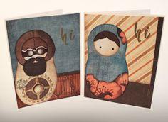 Babushka doll meets Steam punk. Blank greeting cards. original design by Ohkissa.com