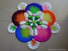 Very easy and attractive multicolored flower rangoli Rangoli Designs Flower, Rangoli Ideas, Colorful Rangoli Designs, Rangoli Designs Diwali, Rangoli Designs Images, Flower Rangoli, Beautiful Rangoli Designs, Happy Diwali Rangoli, Diwali Diy