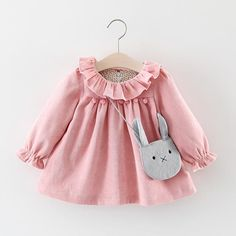 Cheap baby dress, Buy Quality little baby dresses directly from China girl baby dress Suppliers: R&Z Baby Girls Dresses 2017 Autumn Lovely Long-sleeved Lotus Leaf Collar Pocket Doll Dress + Bag Kids Children Clothing Fashion Kids, Baby Girl Fashion, Winter Outfits For Girls, Kids Outfits, Baby Girl Winter, Winter Newborn, Little Girl Dresses, Girls Dresses, Dresses For Babies