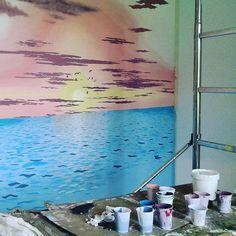 Lavori in corso - pittura murale #decorazioni #dipinti #arte #tramonto #tramontosulmare