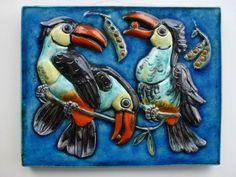 Keramik Wand Platte Vögel Karlsruher Majolika Ceramic wallboard ~1960