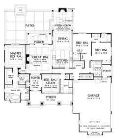 Craftsman Style House Plan - 4 Beds 3 Baths 2239 Sq/Ft Plan Floor Plan - Other Floor Plan House Plans One Story, Best House Plans, Dream House Plans, House Floor Plans, Dream Houses, Craftsman Style House Plans, Ranch House Plans, Cottage House Plans, Craftsman Homes