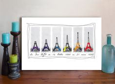 This Eiffle Tower stretched canvas art print is a digitally created mixed media art painting made from vintage ephemera photographs and is an