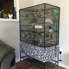Canary Cage, Flight Cage, Cage Skirt, Bird Cage Covers, Teal Bird, Pet Bird Cage, Large Bird Cages, Diaper Cover Pattern, Pet Mice