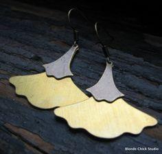 Brass Ginkgo Leaf Earrings