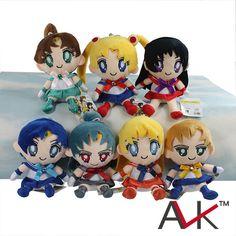 7Pcs Cute Sailor Moon Sailor Mars Plush Anime Girl Doll Toy 5.5