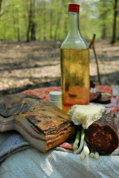 somwhere in Serbia: bacon, home made liquor (Rakija ), bread and sausage