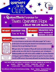 Menifee Relay For Life Team Fundraiser Tomorrow Walk For Hope, Quarter Auction, Relay For Life, How To Raise Money, Helping Others, Cancer Awareness, A Team, Event Planning, The Cure