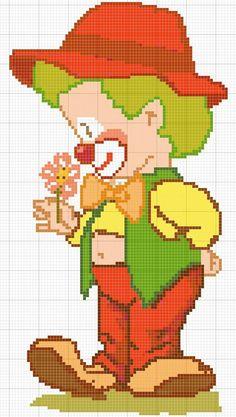 clown with flower x-stitch Cross Stitch For Kids, Cross Stitch Boards, Cross Stitch Baby, Cross Stitching, Cross Stitch Embroidery, Embroidery Patterns, Cross Stitch Patterns, Pixel Art, Perler Bead Emoji