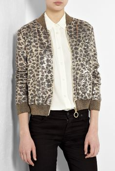 Leopard Print Sequin Bomber Jacket by Love Moschino
