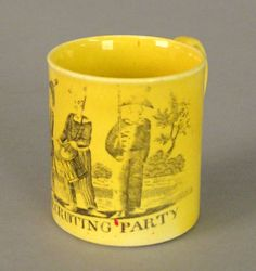 "Catalogue for September 26th 2008 Lot 381  <previous  next> Estimated: $400 - $600 Realized Price: $585 Canary childs mug, 19th c., with transfer decoration of ""A Recruiting Party"", 1 7/8"" h. Pook & Pook Inc."