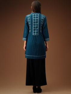 Buy Indigo Band Collar Flared Cotton Tunic SALE shop child products Online at Jaypore.com
