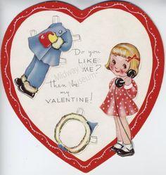 Vintage 1920s Valentine's Day Card.  Paper doll.