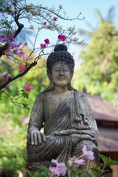 Buddha statue in a private garden - Kalibukbuk, Bali, Indonesia