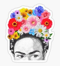 frida kahlo head flowers Pegatina