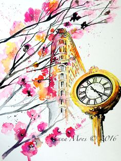 New York Love Watercolor - Original Travel Illustration by Lana Moes - Romantic Wanderlust - Flatiron in Madison Square Park in Springtime by LanasArt on Etsy