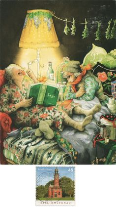Reading with a friend! - Arrived: --- Inge Löök - Aunties No. Illustrations, Illustration Art, Old People Love, Old Age Humor, Cool Books, Elements Of Art, Old Women, Home Art, Fantasy Art