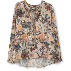MANGO Flowy Printed Blouse ($60) ❤ liked on Polyvore featuring tops, blouses, pattern blouse, print top, print blouse, long sleeve blouse and long sleeve tops
