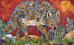 Desert Coyote ~ by Kendahl Jan Jubb Coyote Drawing, Desert Coyote, Make Your Own Story, Koi Painting, Desert Art, Nature Artwork, Southwest Art, Animal Paintings, Painted Rocks