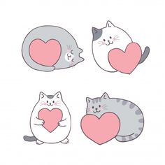 Cute Cartoon Valentine's Day Cat And Love Vector. Illustration Inspiration, Cute Illustration, Valentines Day Cat, Image Chat, Photo Chat, Cat Drawing, Crazy Cats, Cute Stickers, Doodle Art