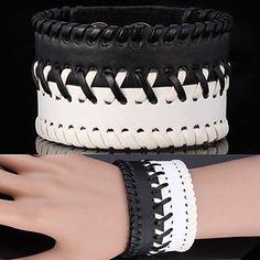 u7® pulseira do vintage pulseira de couro genuíno 3 tamanhos pulseira ajustável para homens  mulheres jóias – BRL R$ 34,17