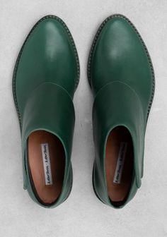 & Other Stories image 2 of Low heel ankle boots in Green Bluish Dark