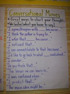 "Literature Circles: Great Anchor Chart for Read Aloud discussions. I called it Read a Loud Sentence starters--and all my students loved it on Day It helps them so much with the ""complete sentence"" mantra we have been pushing them towards. Readers Workshop, Writing Workshop, Readers Notebook, Writing Goals, Essay Writing, Teaching Reading, Teaching Tools, Guided Reading, Reading Groups"