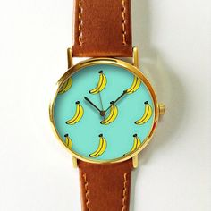 Banana Watch 2  , Vintage Style Leather Watch, Women Watches, Boyfriend Watch, Men's watch, Summer Teal Aqua Yellow , Fruity