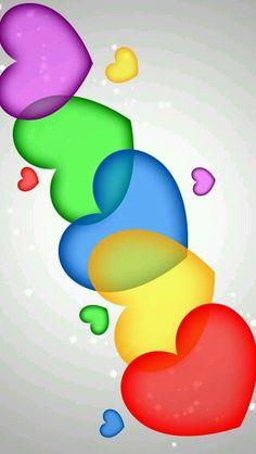 Beautiful Colors Of The Rainbow! Heart Wallpaper, Love Wallpaper, Wallpaper Backgrounds, Iphone Wallpaper, I Love Heart, Happy Heart, Over The Rainbow, Heart Art, Cute Wallpapers