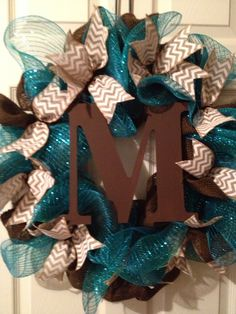 Burlap/Deco Mesh Wreath with Initial - Brown, turquoise, and white on Etsy, $55.00