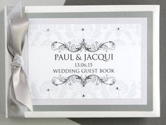 This rococo guestbook from 2 By 2 Creative has an elegant pattern and can be designed in any colour to suit your wedding theme or personal preference. We love this particular version for a winter wedding.