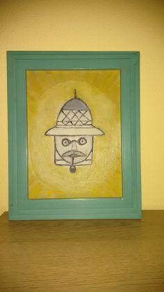"""Cuadro pintado por mi madre, años 70 y al que tituló """"Don Enrique"""", y marco realizado por mí."""