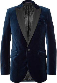 7a19b9f8ff3f Favourbrook Blue Faille-Trimmed Cotton-Velvet Tuxedo Jacket. NocNoc · Mens  Suits