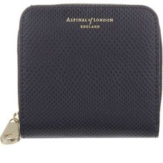 ASPINAL OF LONDON Mini continental coin purse ($145) ❤ liked on Polyvore featuring bags, wallets, navy, navy blue wallet, mini zip wallet, mini coin purse, coin purse and navy wallet