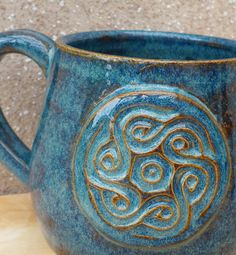 Hand Thrown Pottery | Cuddle mug hand thrown stoneware celtic knotwork motif potte: £10.99
