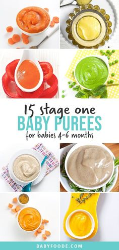 15 stage one baby food recipes that will tempt your baby's taste buds! These easy homemade baby food purees are made with nutrient dense whole fruits and vegetables with an added pinch of spice. They're the perfect starter purees to introduce to babies 4-6 months old and taste out-of-this-world delicious! #baby #babyfood #stageone #homemadebabyfood #healthybabyfood Baby Puree Recipes, Pureed Food Recipes, Baby Food Recipes, Whole Food Recipes, Cooking Recipes, 4 Month Baby Food, Pinch Of Spice, Roasted Banana, Vegetables For Babies