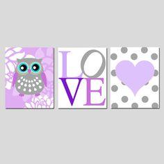 Buho floral amor corazón Trio  conjunto de tres 11 x 14 por Tessyla