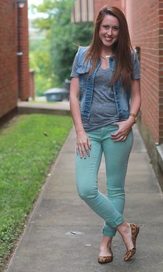 soft fitted tee + colored jeans + fun flats