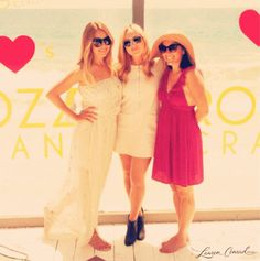 summer beach party with my two besties {wearing a white strapless maxi dress}