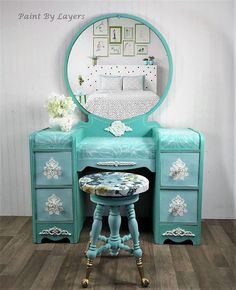 Make Up Vanity with Mirror and Stool, Girl's Dressing Table, Girls Bedroom Makeup Table, Teen makeup vanity table Recycled Furniture, Vintage Furniture, Cool Furniture, Painted Furniture, Furniture Makeover, Makeup Table Vanity, Diy Vanity, Vanity Set, Antique Makeup Vanities