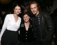 Diana Gabaldon, Sam Heughan (Jamie Fraser) and Caitriona Balfe (Claire Fraser) at the Starz Golden Globes Party for Outlander Season Two 1/8/16