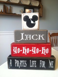 Mickey pirate personalized wood blocks a pirates life for me baby boy room baby girl room birthday gift primitive rustic country decor