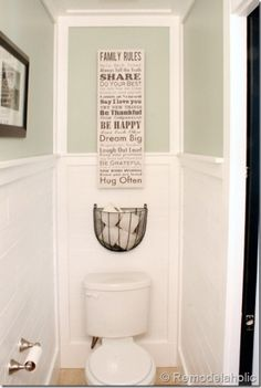 Looking for half bathroom ideas? Take a look at our pick of the best half bathroom design ideas to inspire you before you start redecorating. Half bath decor, Half bathroom remodel, Small guest bathrooms and Small half baths Toilet Paper, Bathroom Inspiration, Bathroom Decor, Bathroom Upgrades, Half Bathroom, Toilet Paper Storage, Toilet Room, Simple Bathroom, Diy Plank Wall