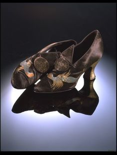Shoes, Stead and Simpson: 1922, English, hand-painted satin and beaded appliqué.