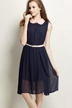 Navy Sleeveless Belt Pleated Chiffon Dress