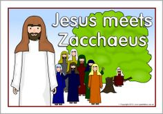 A set of printable visual aids to use when retelling the bible recount of Jesus and Zacchaeus. Zacchaeus Bible Story, Bible Story Crafts, Bible Stories For Kids, Bible Crafts For Kids, Bible Lessons For Kids, Faith Crafts, Sunday School Lessons, Sunday School Crafts, Primary Teaching