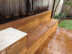 If you like the use of timber in a landscape you will love this.  We have incorporated into this inner city yard a deck with a planter, seat with under storage and servery.  We were charged with fitting all of these elements into the project and I think its added a complete new dimension to the property now completed.  In addition to providing so many benefits to the once tired yard it looks fantastic.