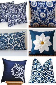 December Skye: Navy Blue Decor Pillows